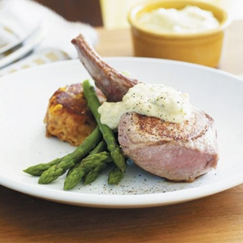 Pork cutlet with blue cheese mayo