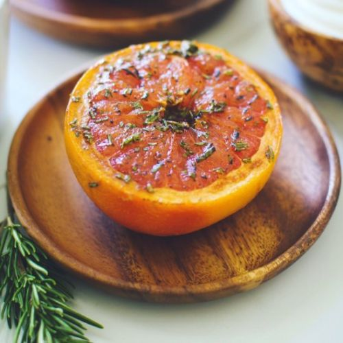 Rosemary Maple Broiled Grapefruit