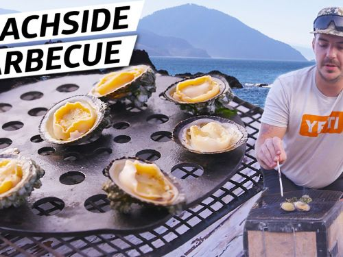 Chef Jacob Harth Barbecues Sea Snails on the Beach