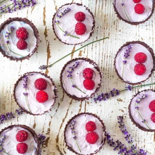 No-bake Lavender Chocolate Cups