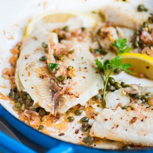 Fish with Lemon Caper Sauce
