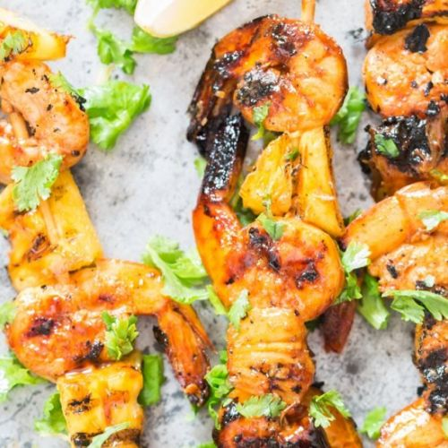 Grilled Pineapple Shrimp Skewers
