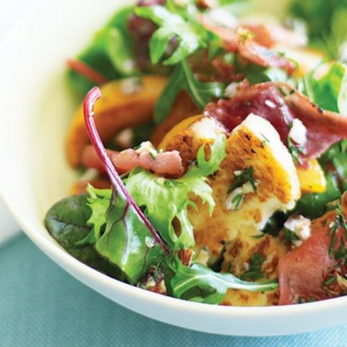 Peach, haloumi and prosciutto salad