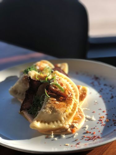 Detroit's Grey Ghost Plays with The Pierogi: Loaded Potato Pierogis with Bacon Mushrooms