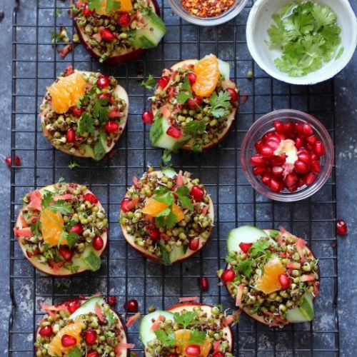 Sprouted mung bean salad canapes