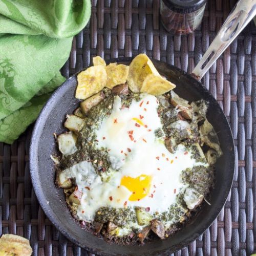 Baked Eggs with Chimichurri