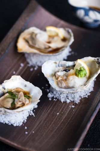 Grilled Oysters with Ponzu Sauce 牡蠣のポン酢焼き
