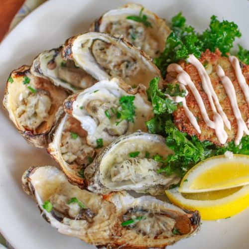 Grilled Oysters & Crab Cakes