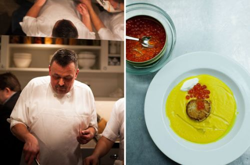 COOKing at Home: Mustard Soup with Scallop, Caviar, Tarragon Oil