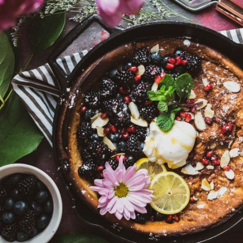 Lemon Cardamom Berry Dutch Baby
