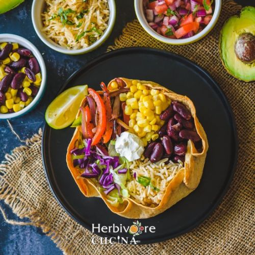 Taco Salad in a Baked Tortilla Bowl