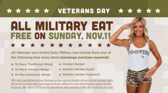 Hooters Honors Military on Veterans Day with Free Meal