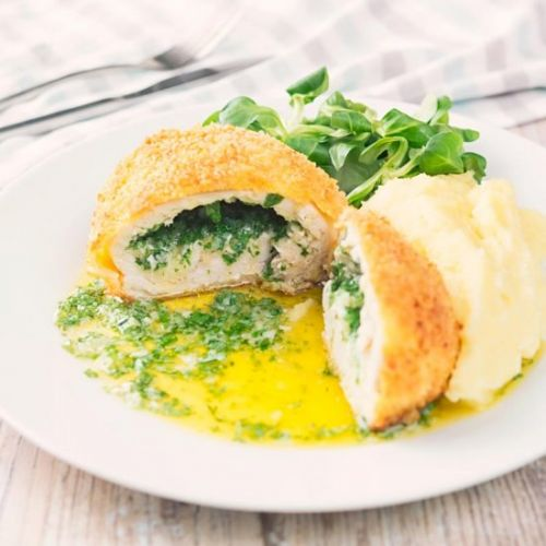 Buttery Chicken Kiev with Mash