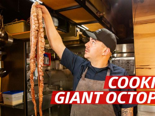 Grilling a Giant Pacific Red Octopus