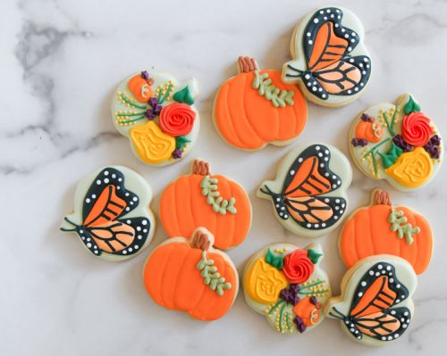 Pumpkin, Butterfly, and Floral Cookie Set.from ONE cookie cutter!