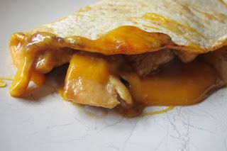 Root Beer Barbeque Chicken Quesadillas with Caramelized Onions