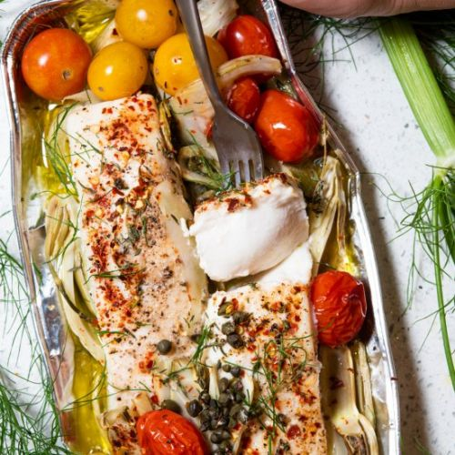 Halibut Foil Pack with White Wine