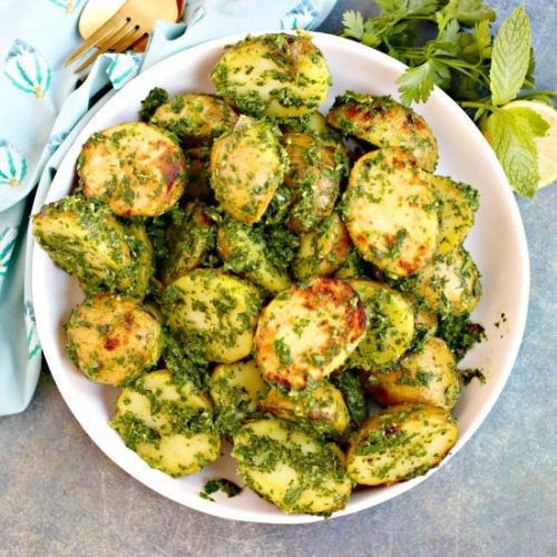Grilled Potatoes with Herb Sauce