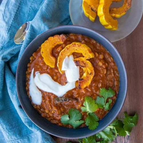 Creamy Lentils with Roasted Squash