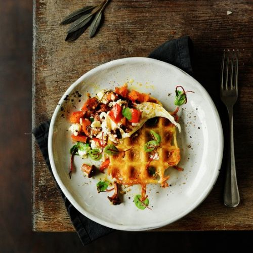 Potato waffles with roasted pumpkin