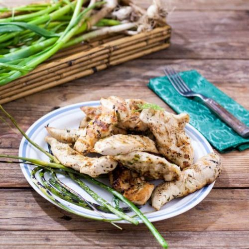 GARLIC SCAPE, LEMON GRILLED CHICKEN