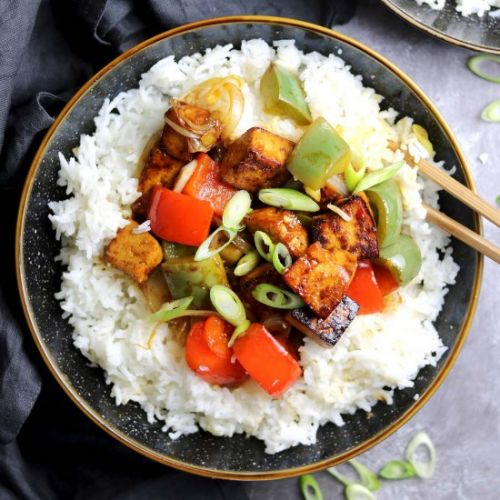 Sesame Tofu with Stir-fried Peppers
