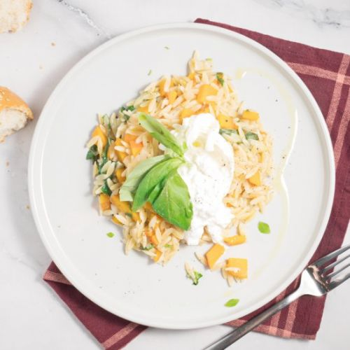 Pumpkin orzo with burrata and basil