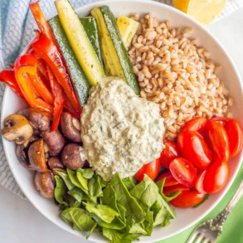 Farro and roasted vegetable bowl