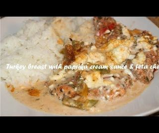 Turkey Breast With Paprika Cream Sauce & Feta Cheese Recipe
