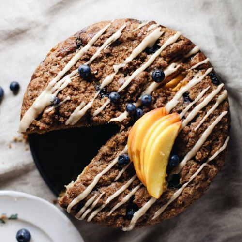 Blueberry Peach Ricotta Coffee Cake