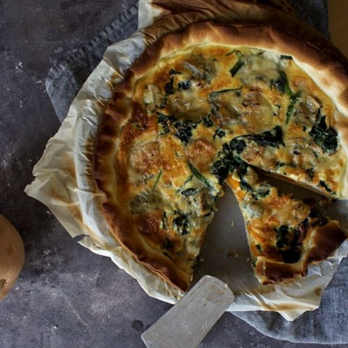 Butternut and gorgonzola quiche