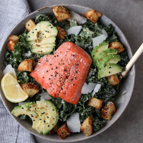 Kale Caesar Salad with Salmon