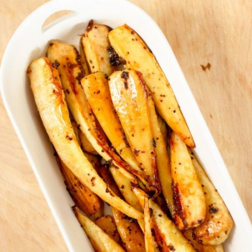 Honey Maple Mustard Parsnips