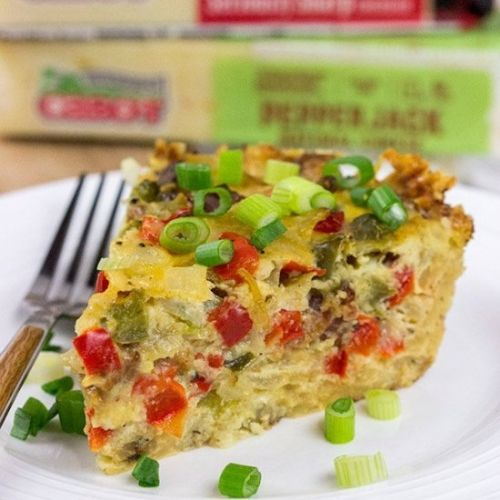 Cheesy Quiche with Hash Brown Crust