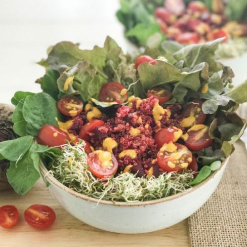 Beetroot Quinoa Salad with Sprouts
