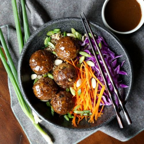 Vegan eggplant no-meatballs
