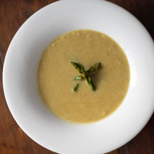 Asparagus Soup with Caramelized Lee