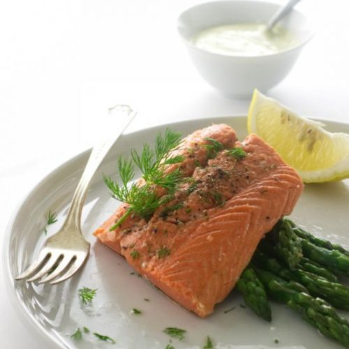 Steamed salmon