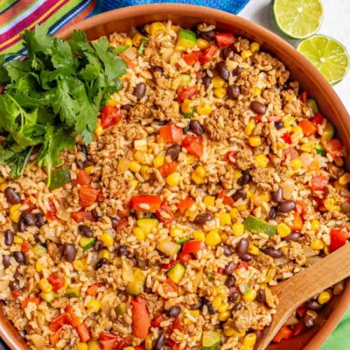Turkey taco rice skillet