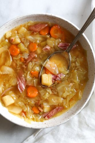 Leftover Ham Bone Soup with Potatoes and Cabbage