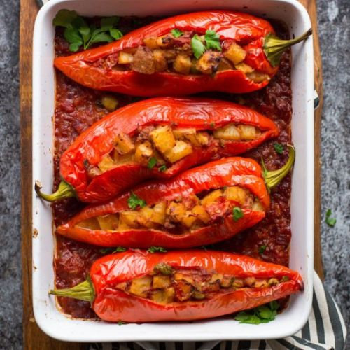 Potato & Olive Stuffed Peppers