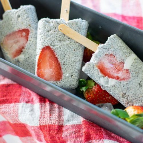Coconut Strawberry Chia Popsicles