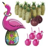 "This ""Sip & Chill"" Summer Fun Kit Includes Pineapple Bowling and Pink Flamingo Cups For Cocktails"