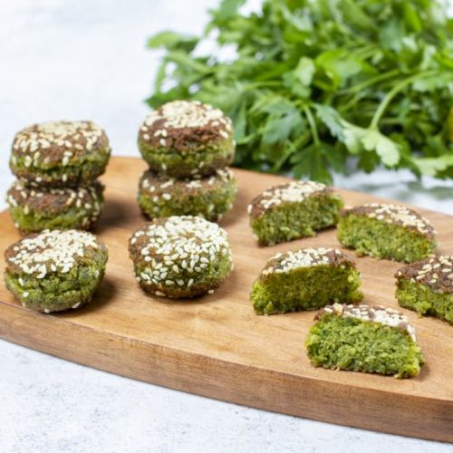 Step by step lower fat falafel