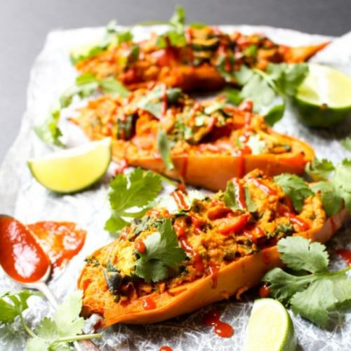Twice Baked Curry Sweet Potatoes