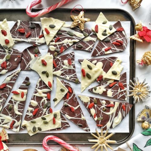 Festive winter chocolate bark