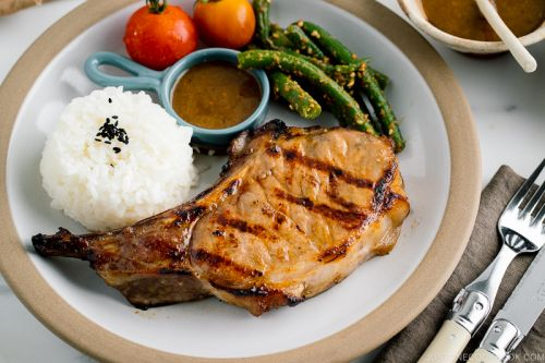 Grilled Kurobuta Pork Chops with Miso Sauce