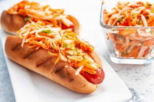 Hot Dogs with Spicy Kimchi Slaw
