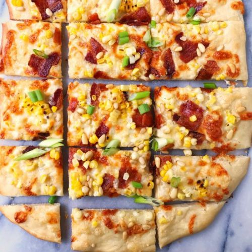 Corn Bacon and Pine Nut Pizza