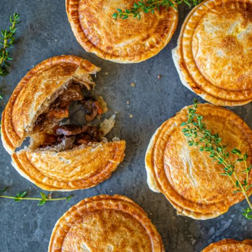 CHUNKY STEAK AND RED WINE PIES